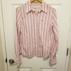Hollister pink and white stripe button down size M